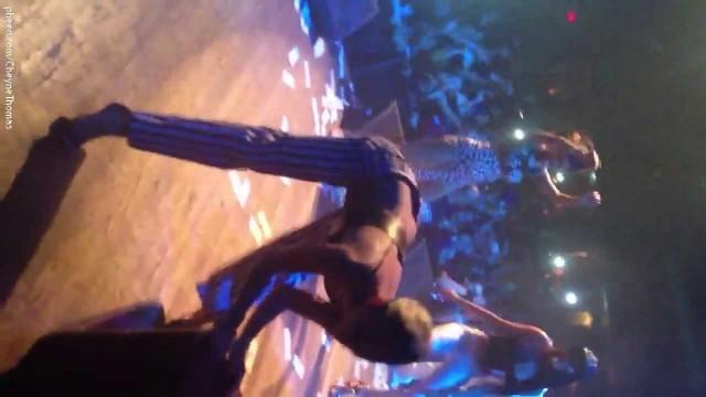Miley Cyrus dancing at the Juicy J concert longer video
